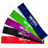 Resistance Band Set (x5) by VIA FORTIS | Robust Exercise Rubber Bands for Training, Home and Gym Workout, Calisthenics, Fitness, Stretching, Yoga and Pilates | 5 Resistance Levels | Carry Bag Included