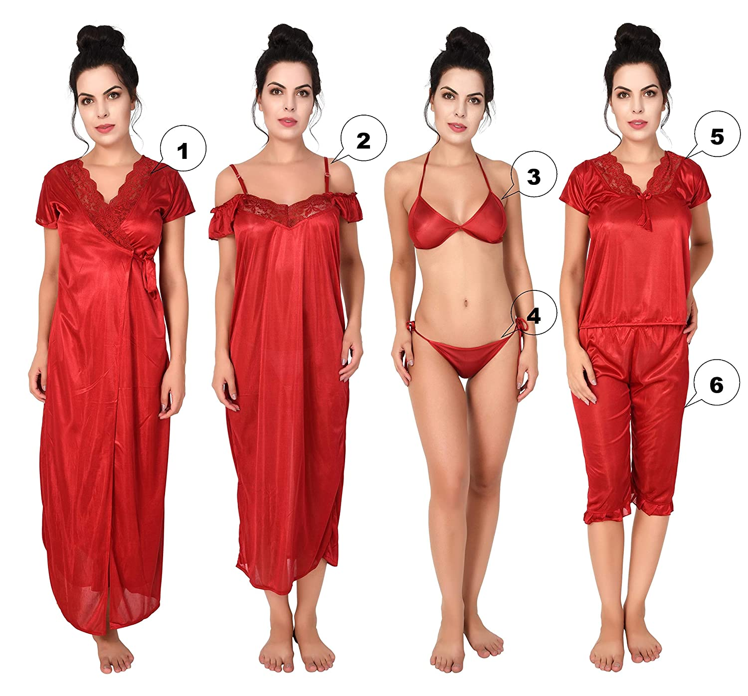 8554e2614 Freely Women s Honeymoon Satin Nighty Set - Pack of 6  Amazon.in  Clothing    Accessories