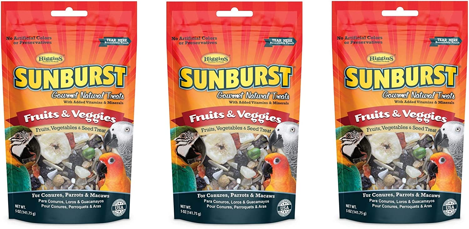 Higgins 3 Pack of Sunburst Gourmet Natural Bird Treats, 5 Ounces Each, Fruits and Veggies Flavor, for Conures Parrots and Macaws
