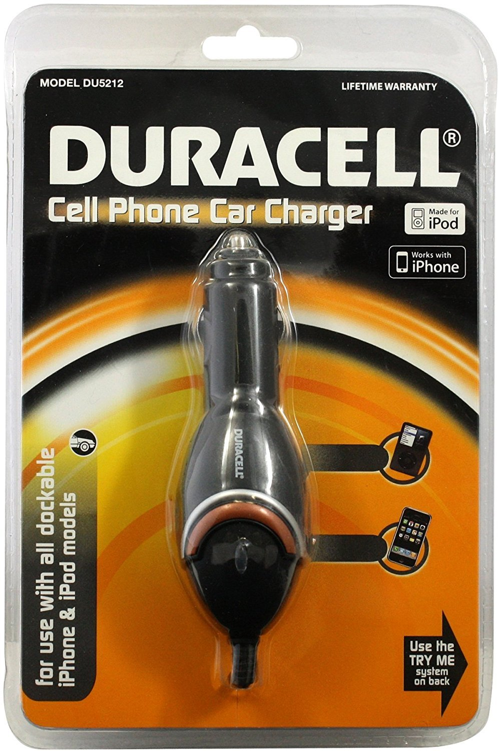 Duracell DU5212 Car Charger for iPod//iPhone 30-Pin Connector