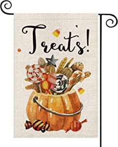 AVOIN Halloween Watercolor Pumkin Candy Cane Treats Garden Flag Vertical Double Sized, Candy Corn Dessert Yard Outdoor Decoration 12.5 x 18 Inch