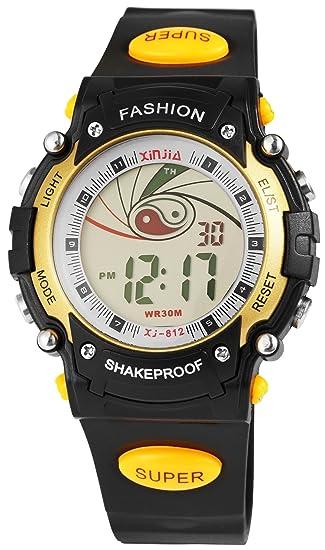 Hombres Reloj De Pulsera Negro Dorado Amarillo + Caja Digital Plástico Silicona Cuero Fecha Sport Alarma Cronógrafo Luz Cuarzo Niños: Amazon.es: Relojes