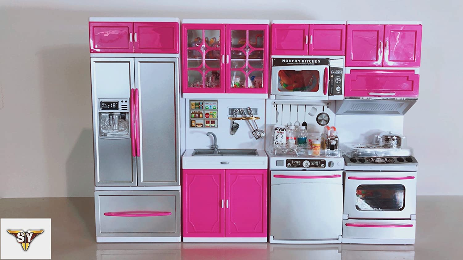 Buy sy doll playsets my modern kitchen full deluxe kit with lights and sounds4 set online at low prices in india amazon in