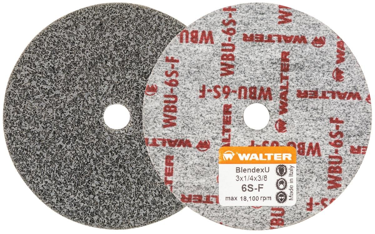 Walter 07U322 Blendex U Wheel (Pack of 20) - ¼ in. Width, 18100 RPM, 6SF Grit Wheel - 3 in. Finishing Wheel for Carbon Steel, Stainless Steel, Aluminum