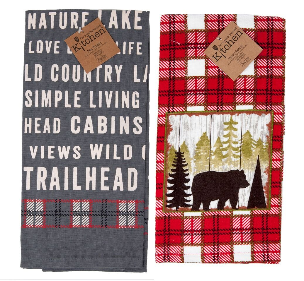 Kay Dee Bear Country Living Lake House Mountain Cabin Tea Towel and Terry Towel Set Red Grey Plaid