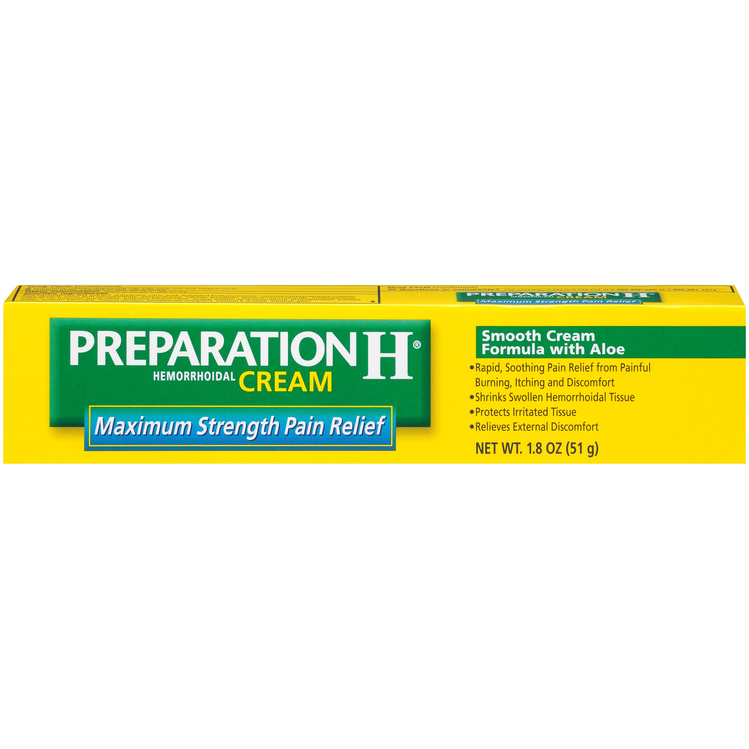 Preparation H Hemorrhoid Symptom Treatment Cream, Maximum Strength Pain Relief with Aloe, Tube (1.8 Ounce) (Pack of 2)