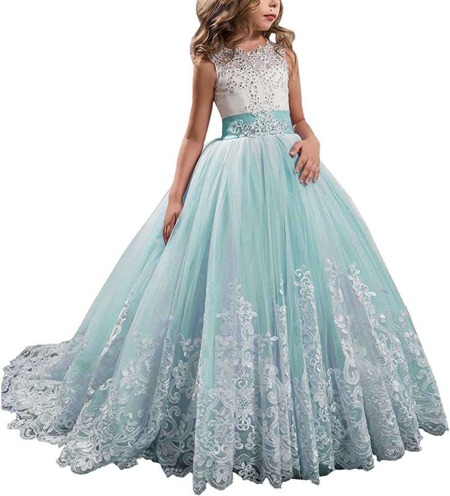 7145ccca11f60 Wedding Flower Girls Dress Lace Tulle Dance Pageant Gown with Bow