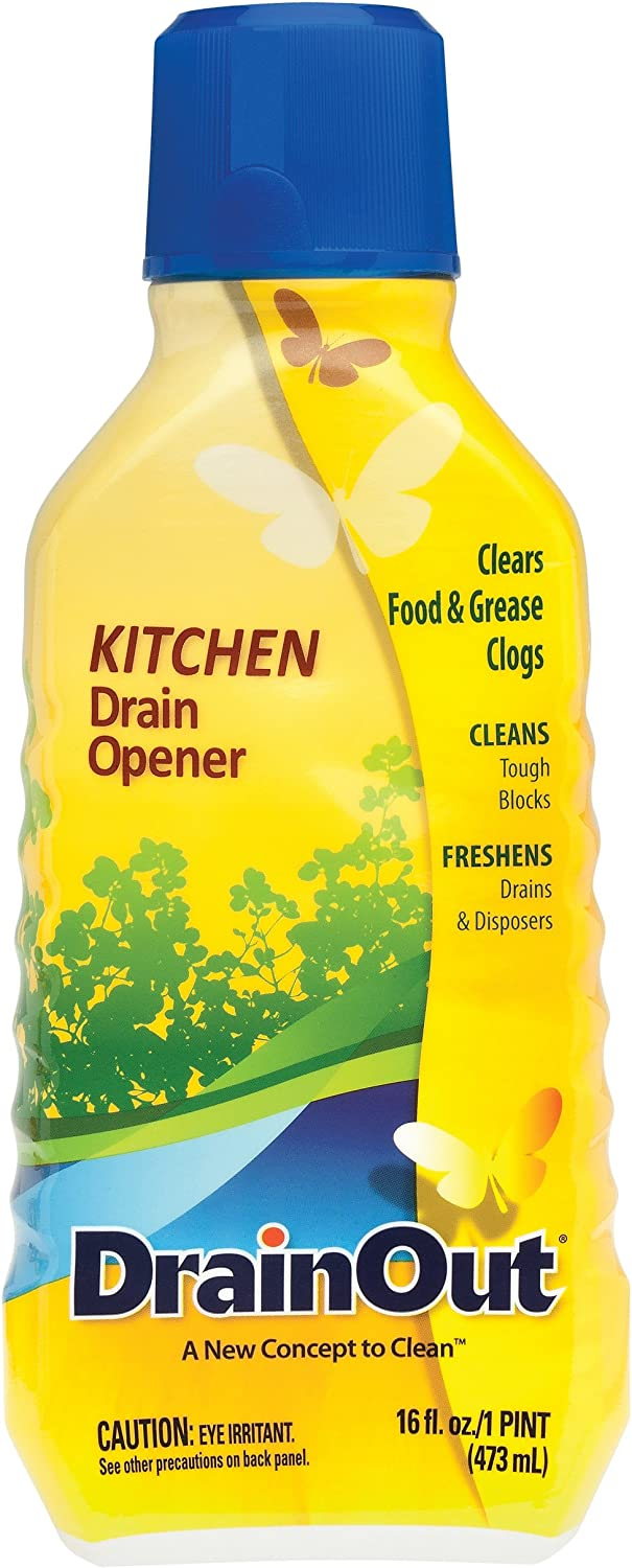 Drain OUT Kitchen Drain Opener and Drain Cleaner, Food and Grease Remover, Fresh Citrus - 16 Ounce