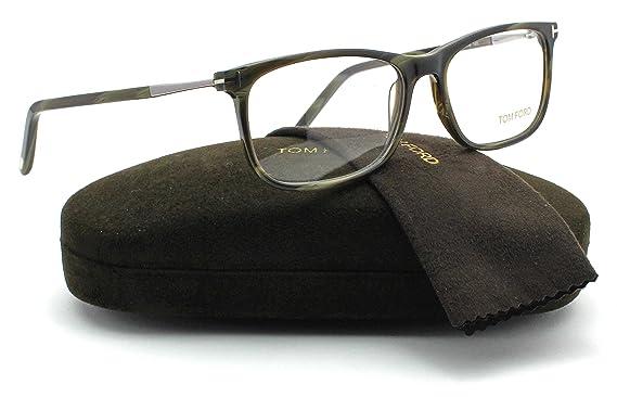 b9f144e9da Amazon.com  Tom Ford FT5398 Unisex Eyeglasses (Green Horn Frame 061 ...