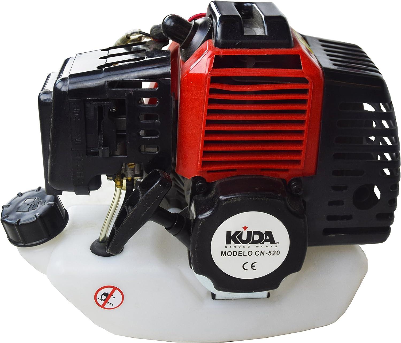 KUDA CN-520 Desbrozadora Motor de Gasolina, 2 tiempos, Barra Partida con 5 discos, cabezal metálico de hilo y cabezal de plástico, arnés, roja, 52 cc: Amazon.es: Bricolaje y herramientas