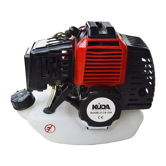 KUDA CN-520 Desbrozadora Motor de Gasolina, 2 tiempos, Barra Partida con 2 discos, cabezal metálico de hilo y cabezal de plástico, arnés, roja, 52 cc