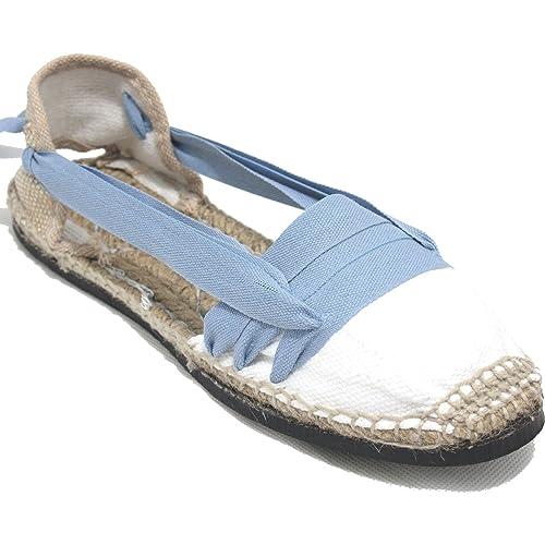 Espardenya.cat Alpargatas Tradicionales Planas Suela de Goma Diseño Tres Vetas o Tabernero Color Azul Jeans: Amazon.es: Zapatos y complementos