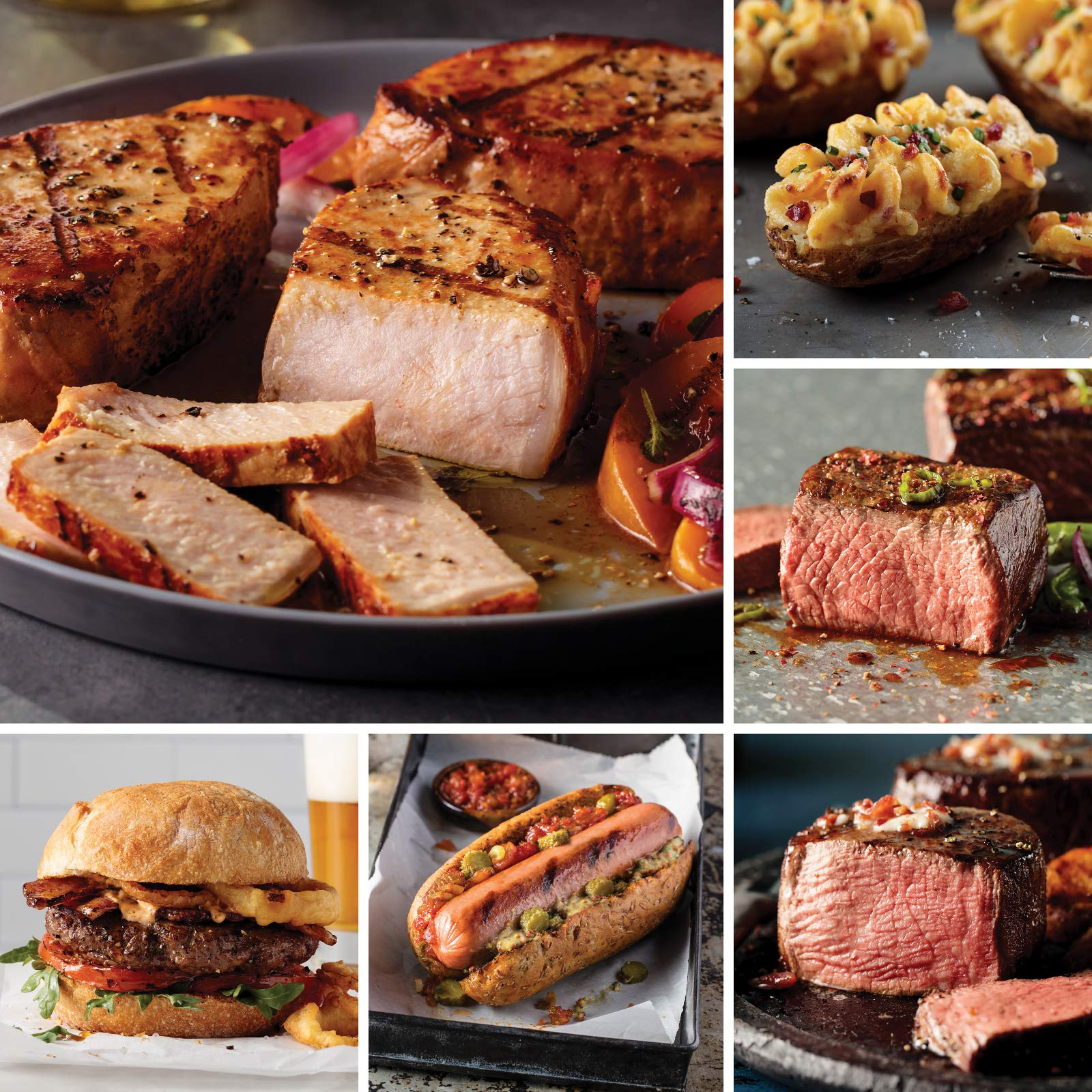 Omaha Steaks Premier Selection (20-Piece with Filet Mignons, Boneless New York Strips, Top Sirloins, Boneless Pork Chops, Steak Burgers, Jumbo Franks, and Stuffed Baked Potatoes)