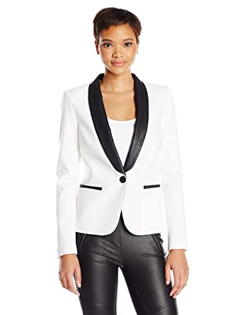 4fcec733266 Amazon.com: James Jeans Women's Tuxedo Jacket with Vegan Leather Lapels in  Ivory Black Ponte, Small: Clothing