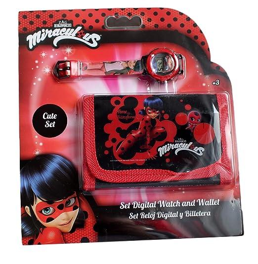 Reloj infantil digital de cuarzo de Miraculous: Las aventuras de Ladybug más cartera: Amazon.es: Relojes