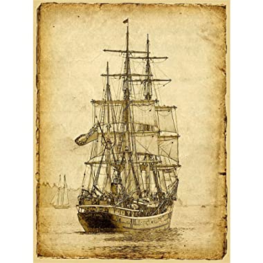 Meishe Art Sailing Ship Poster Print Art Picture Vintage Style Nautical Old Sailboat Home Wall Canvas Decor