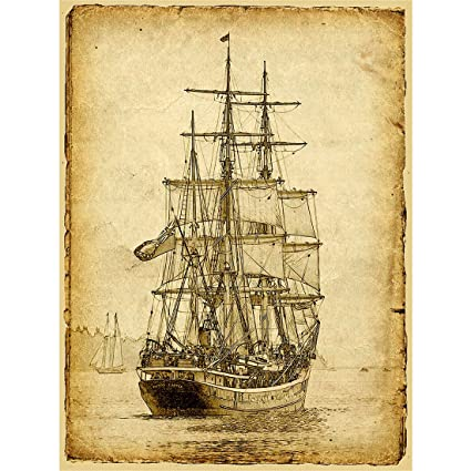 Amazon.com: Meishe Art Sailing Ship Poster Print Art Picture Vintage ...