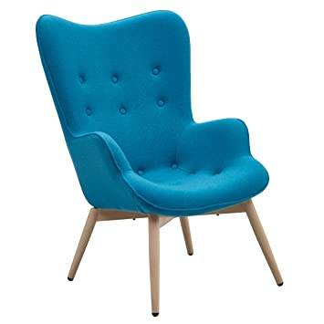 Ohrensessel design  Designer Ohren-Sessel petrol mit Armlehnen aus Wolle blau | Anjo ...