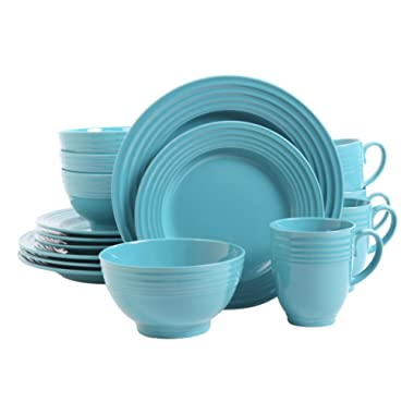 Gibson Home 106033.16RM Stanza 16 Piece Dinnerware Set, Turquoise