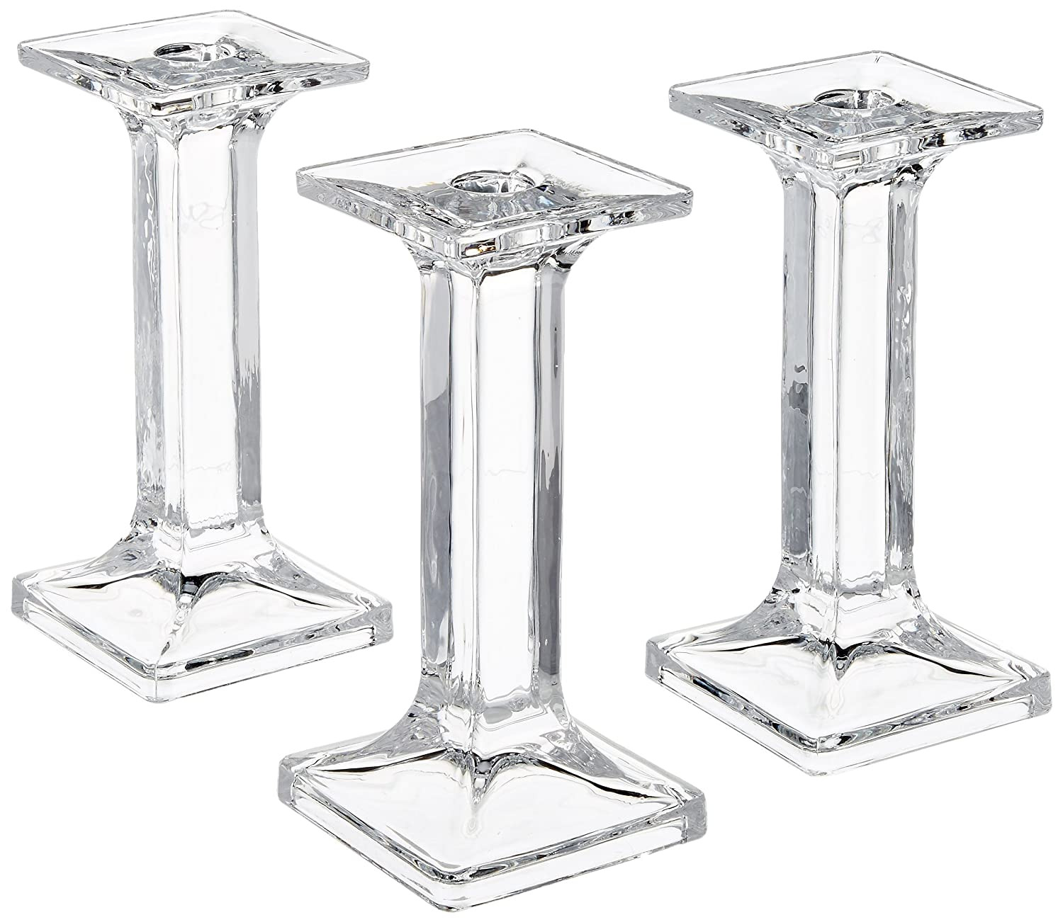 3 Square Shaped Taper / Stick Candle Holder (5.5 Inch Tall) Light In The Dark LITD-TH-SQ-5.5-3