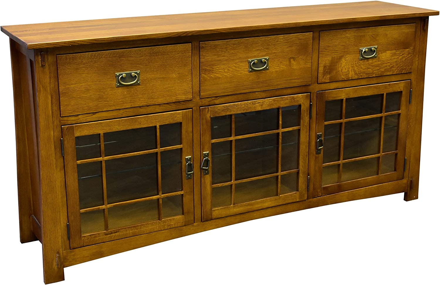 """Crafters and Weavers Arts & Crifts Craftsman Style Quarter Sawn Oak Sideboard - 72"""""""