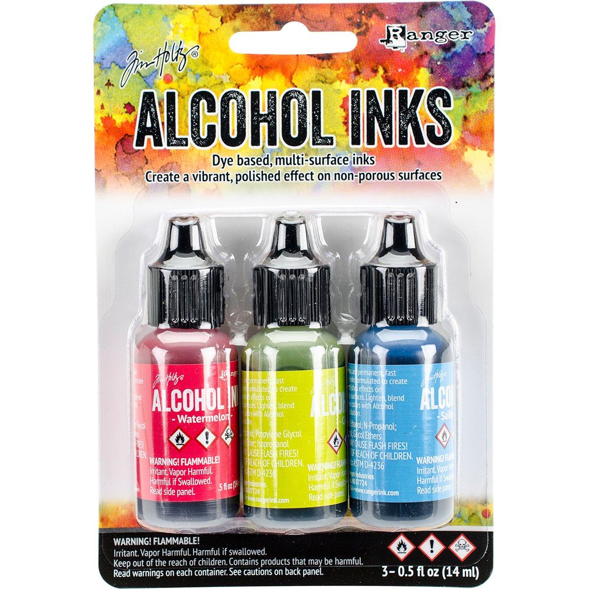 Tim Holtz Alcohol Ink .5oz 3/pkg-Dockside Picnic-Watermln/Citrus/Sailboat Sundance