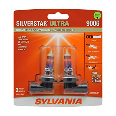 SYLVANIA - 9006 SilverStar Ultra - High Performance Halogen Headlight Bulb, High Beam, Low Beam and Fog Replacement Bulb, Brightest Downroad with Whiter Light, Tri-Band Technology (Contains 2 Bulbs): Automotive