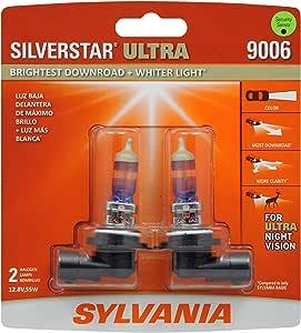 SYLVANIA SilverStar Ultra High Performance Halogen Headlight Bulb, (Contains 2 Bulbs) (9006SU.BP2)
