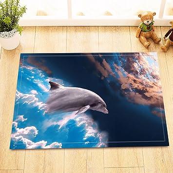 Lb Delphin Schwimmt Zum Universum Badematte 40 60 Cm Amazon De