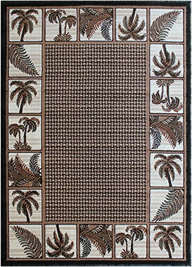 Palm Tree Area Rug Green Brown Beige Ivory Black 8 Feet X 10 Feet