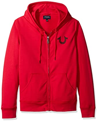 cfe358b1d Amazon.com: True Religion Men's Shoestring Horseshoe Hoodie, Ruby Red,  XXXL: Clothing