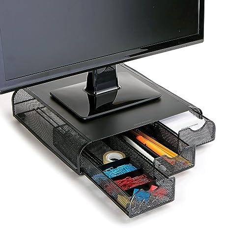 Amazon Com Mind Reader Monmesh Blk Monitor Stand And Desk Organizer