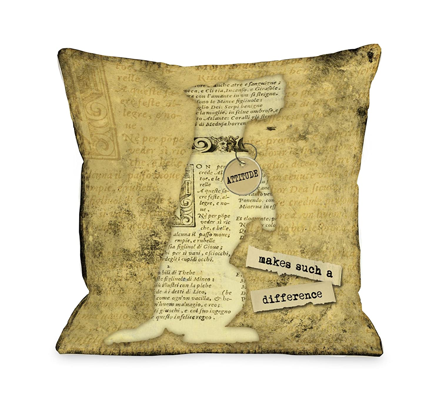 Bentin Pet Decor Attitude Makes Such a Big Difference Throw Pillow, 26 by 26-Inch