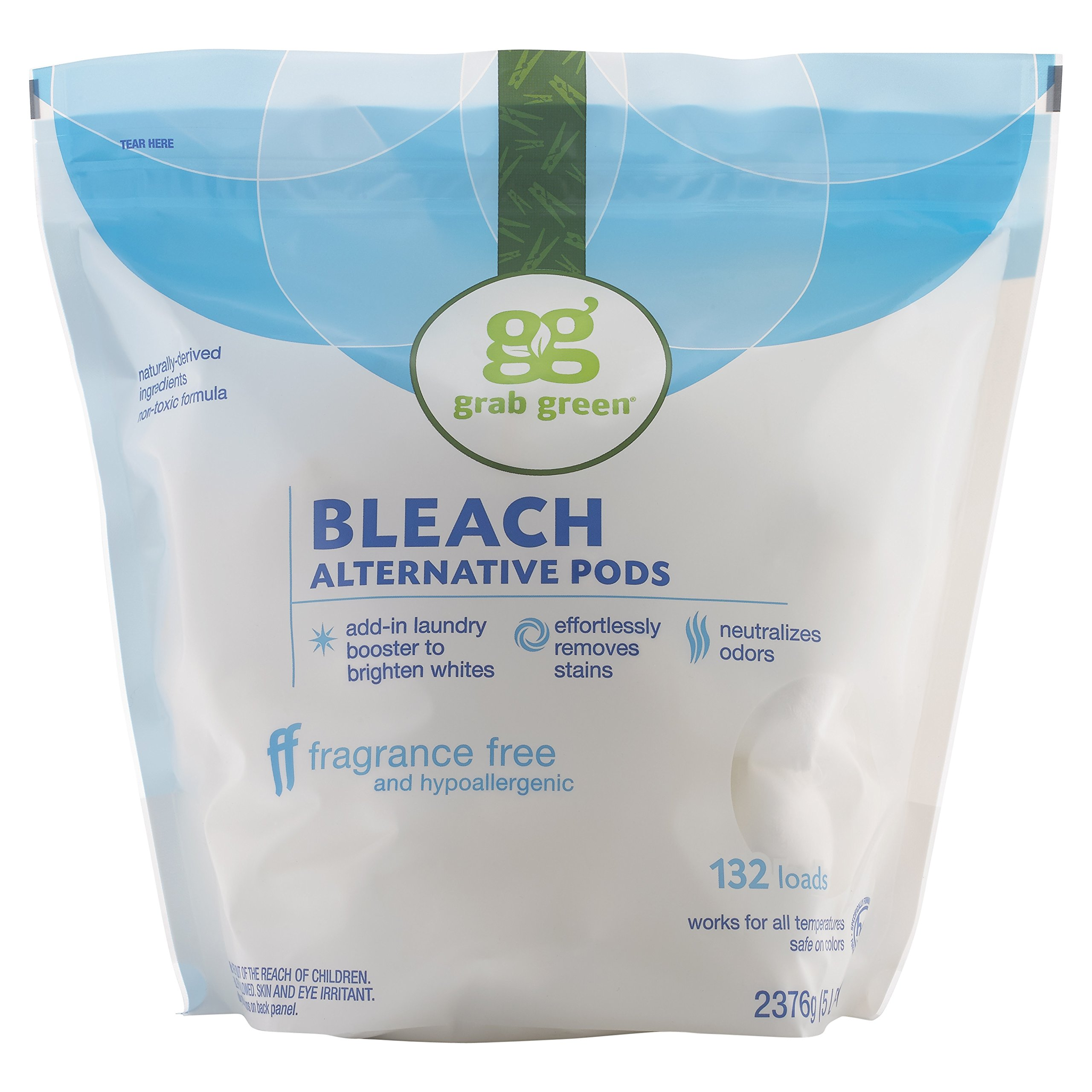 Grab Green Natural Bleach Alternative Pods, Non-Chlorine Bleach, Fragrance Free, Unscented/Free & Clear, 132 Loads