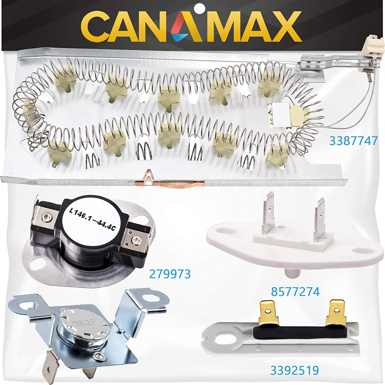 3387747 & 279973 & 3392519 & 8577274 Dryer Heating Element and Thermal Cut-off Fuse Kit Premium Replacement by Canamax - Compatible with Whirlpool and Kenmore Dryers