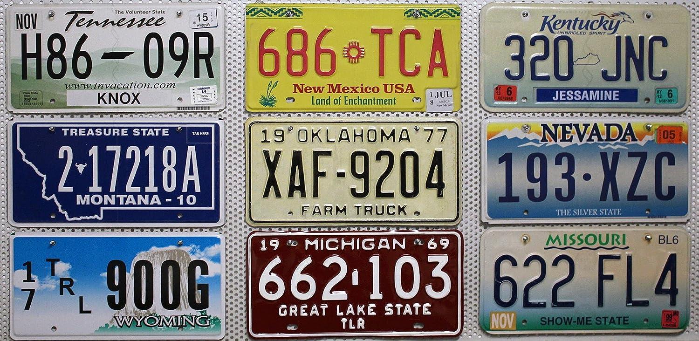 9 U S A Metall Kennzeichen Als Set Aus Kentucky Michigan Missouri Montana Nevada New Mexico Oklahoma Tennessee Wyoming Nummernschilder United States Of America License Plates Auto
