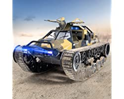 Ruko RC Tank, 1:12 Scale All Terrain Remote Control Cars for Adults, High Speed Spraying RC Trucks with 2 Batteries, 45 Mins