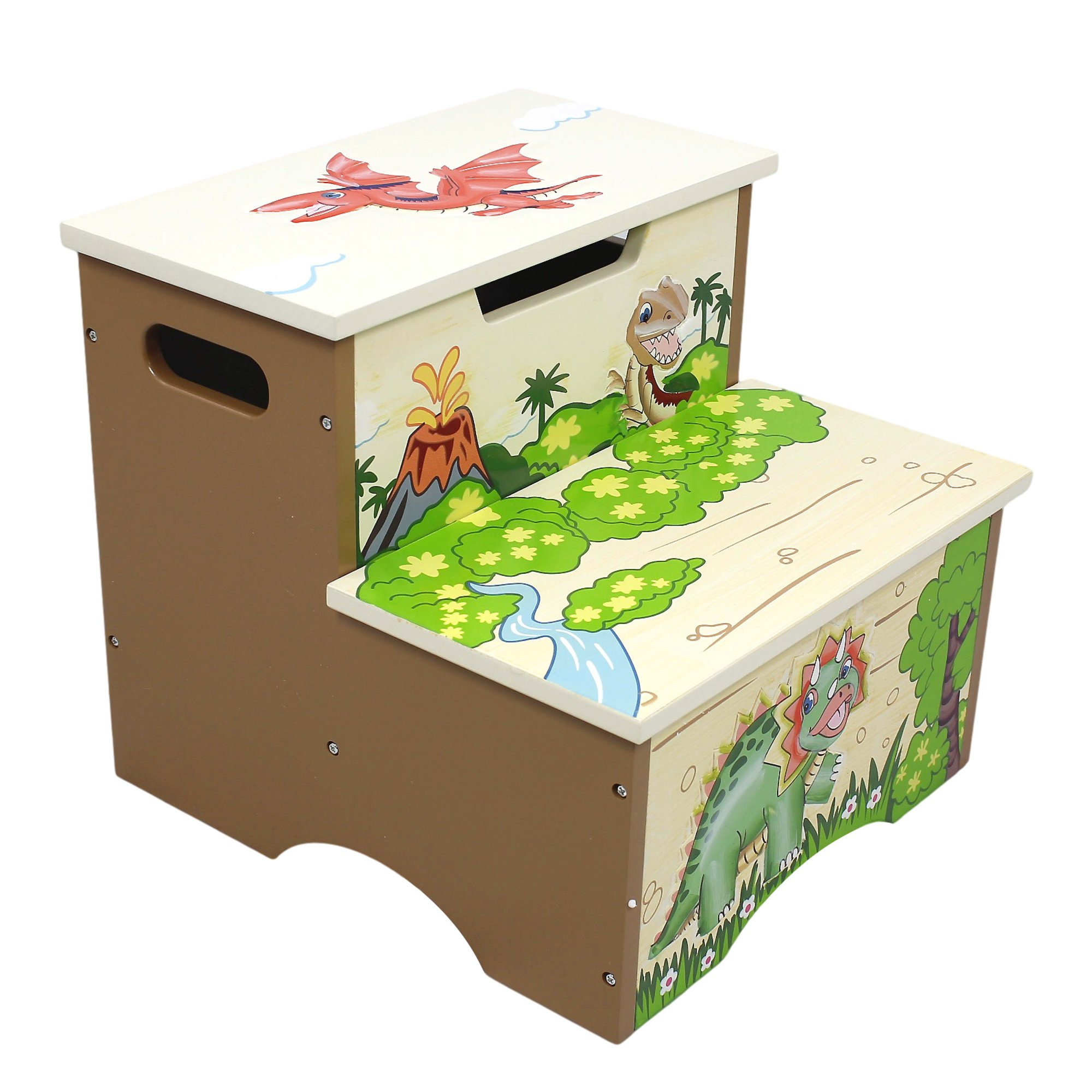 Fantasy Fields - Dinosaur Kingdom Thematic Kids Wooden Step Stool with Storage | Imagination Inspiring Hand Crafted & Hand Painted Details   Non-Toxic, Lead Free Water-based Paint