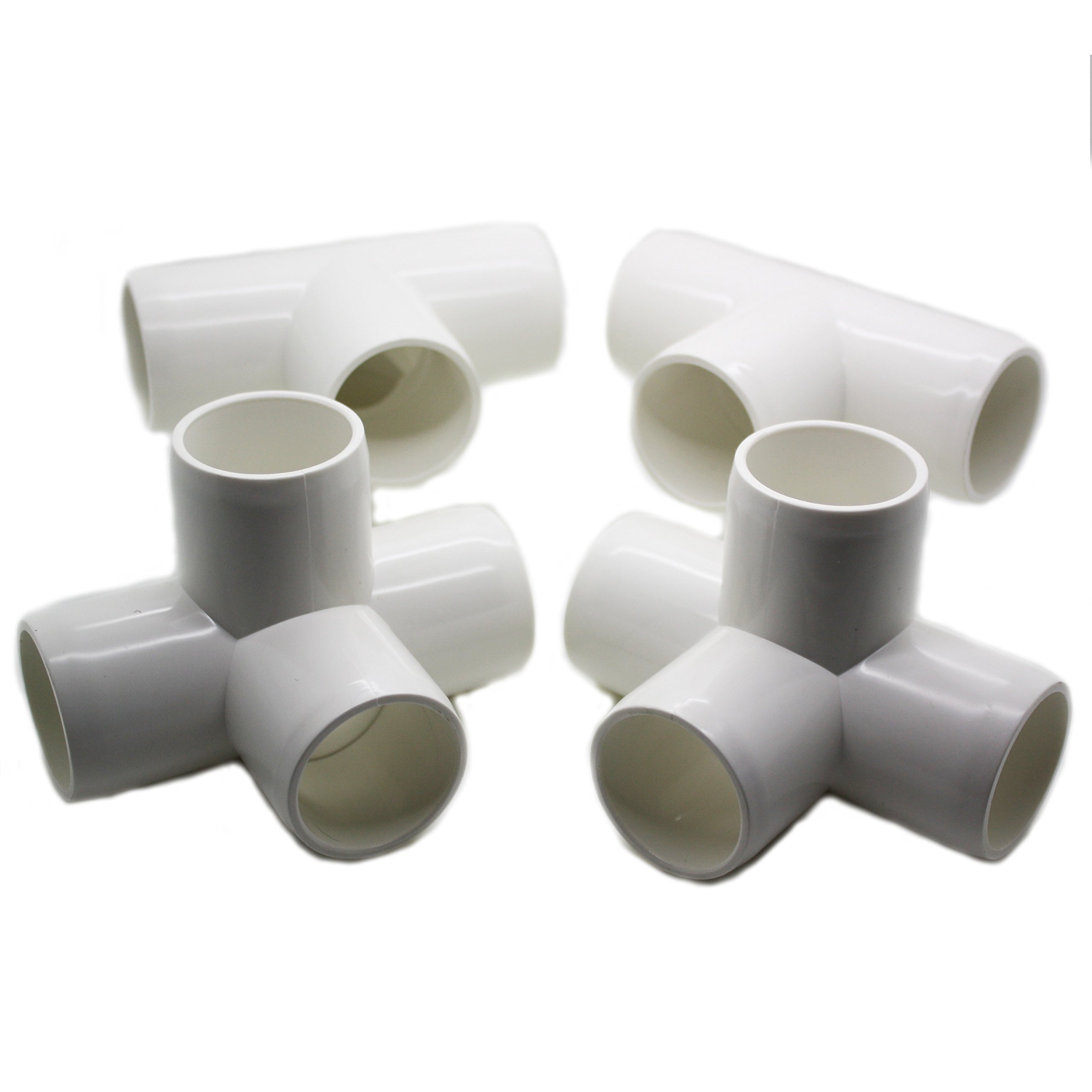 4 Way Tee PVC Fitting - Build Heavy Duty PVC Furniture - Grade SCH 40 PVC 1'' Elbow Fittings - For One Inch Size Pipe - White [4 Pack]