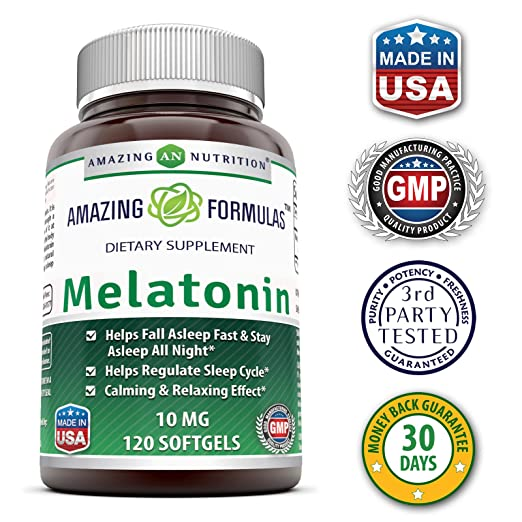 Amazon.com: Amazing Formulas Melatonin 10 Mg 120 Softgels - Best Choice of Natural Sleep Aid Supplement Promotes Calming and Relaxing Effect: Health ...