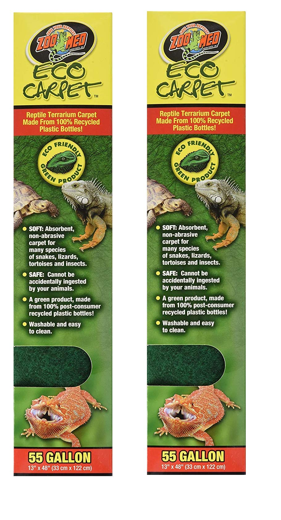Zoo Med Eco Cage Carpet for 55 Gallon Tanks, 13''x48'' (2-Pack) by Zoo Med