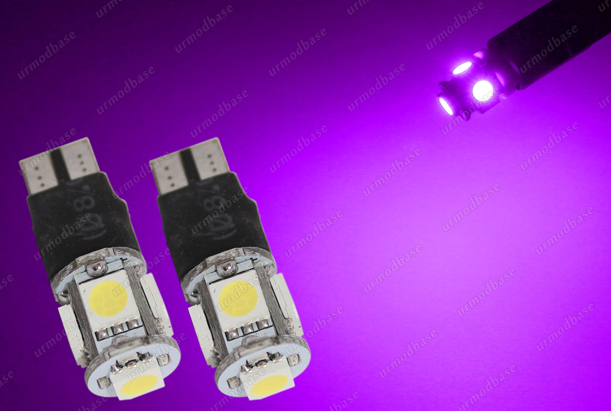 urmodbase W5W T10 501 Wedge Capless LED SMD Xenon Purple Pink Front Sidelights Side Lights License Number Plate Bulbs Lamps 12v