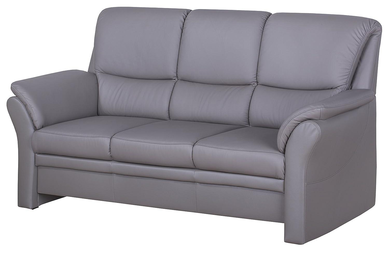 Cavadore 4342 3-Sitzer Klariza, 195 x 102 x 91 cm, Leder Punch delphine kombiniert mit Kunstleder, elefant