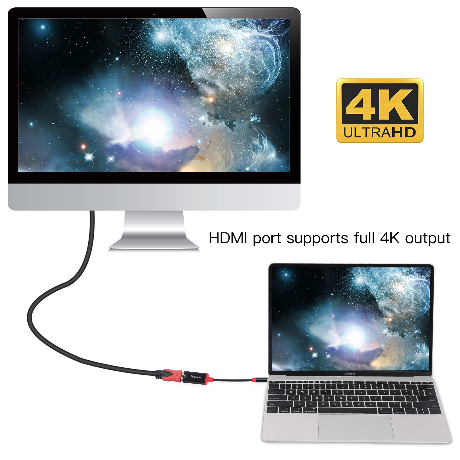 USB C to HDMI Adapter 4K Type C to HDMI Digital AV Adapter,Multi Ports Hubs with USB 3.0,HDMI and Charging Adapter for MacBook//Chromebook Pixel//Projector//Sumsang Galaxy S8//S9//Yoga 900 3 in 1