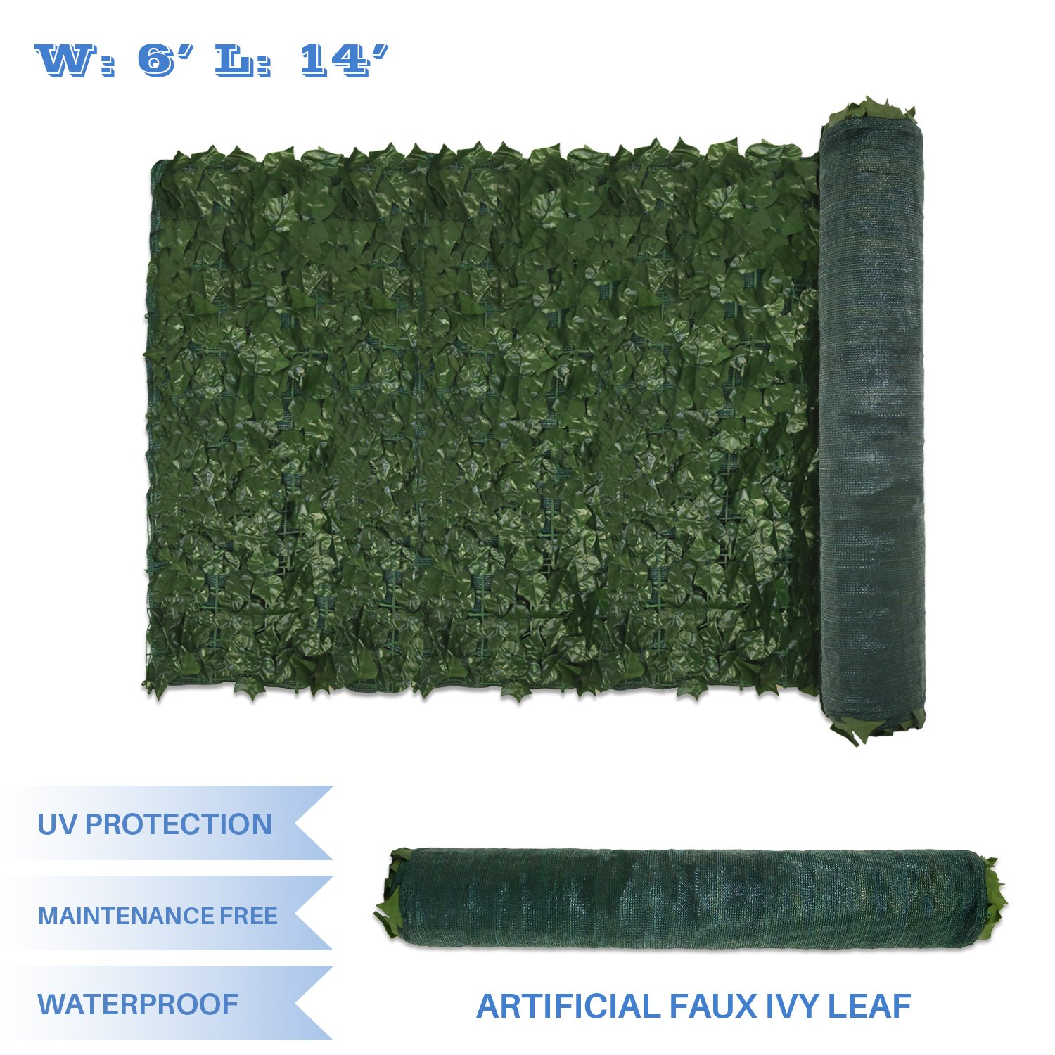 E&K Sunrise 6' x 14' Faux Ivy Privacy Fence Screen with Mesh Back-Artificial Leaf Vine Hedge Outdoor Decor-Garden Backyard Decoration Panels Fence Cover - Set of 1