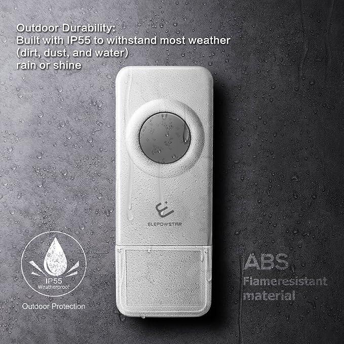 Timbre inalámbrico para Puerta, ELEPOWSTAR IP55 Timbre Impermeable Volumen Ajustable Alcance a 300m con 52 Melodías, timbre de puerta para el ...