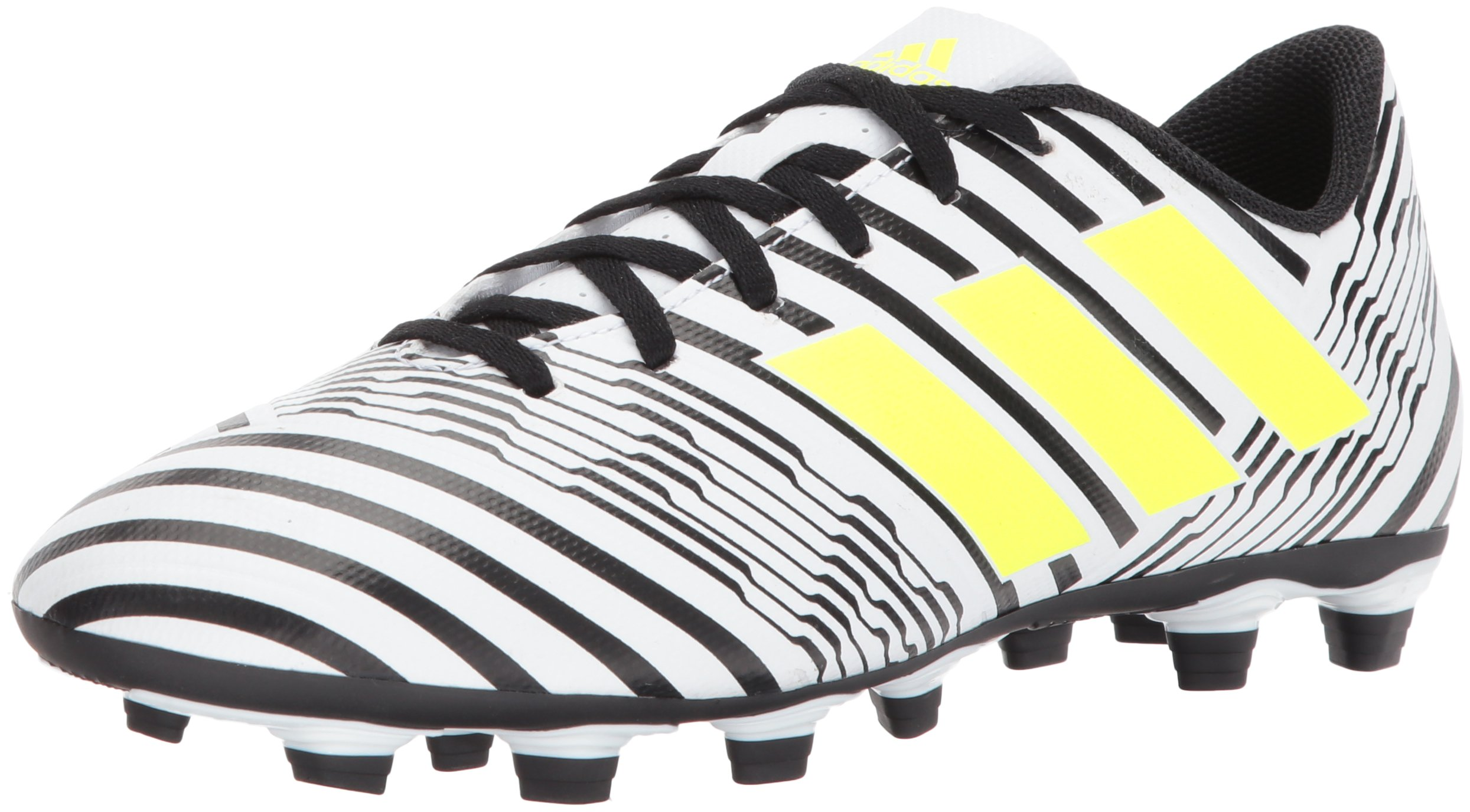 adidas Men's Nemeziz 17.4 FxG Soccer Shoe, White/Solar Yellow/Black, 7.5 Medium US by adidas