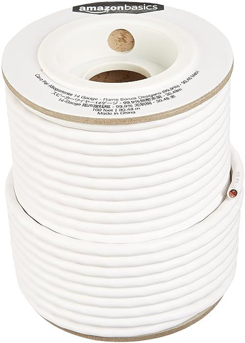 AmazonBasics Speaker Wire - 14-Gauge, 99.9% Oxygen-Free Copper, 100 Feet