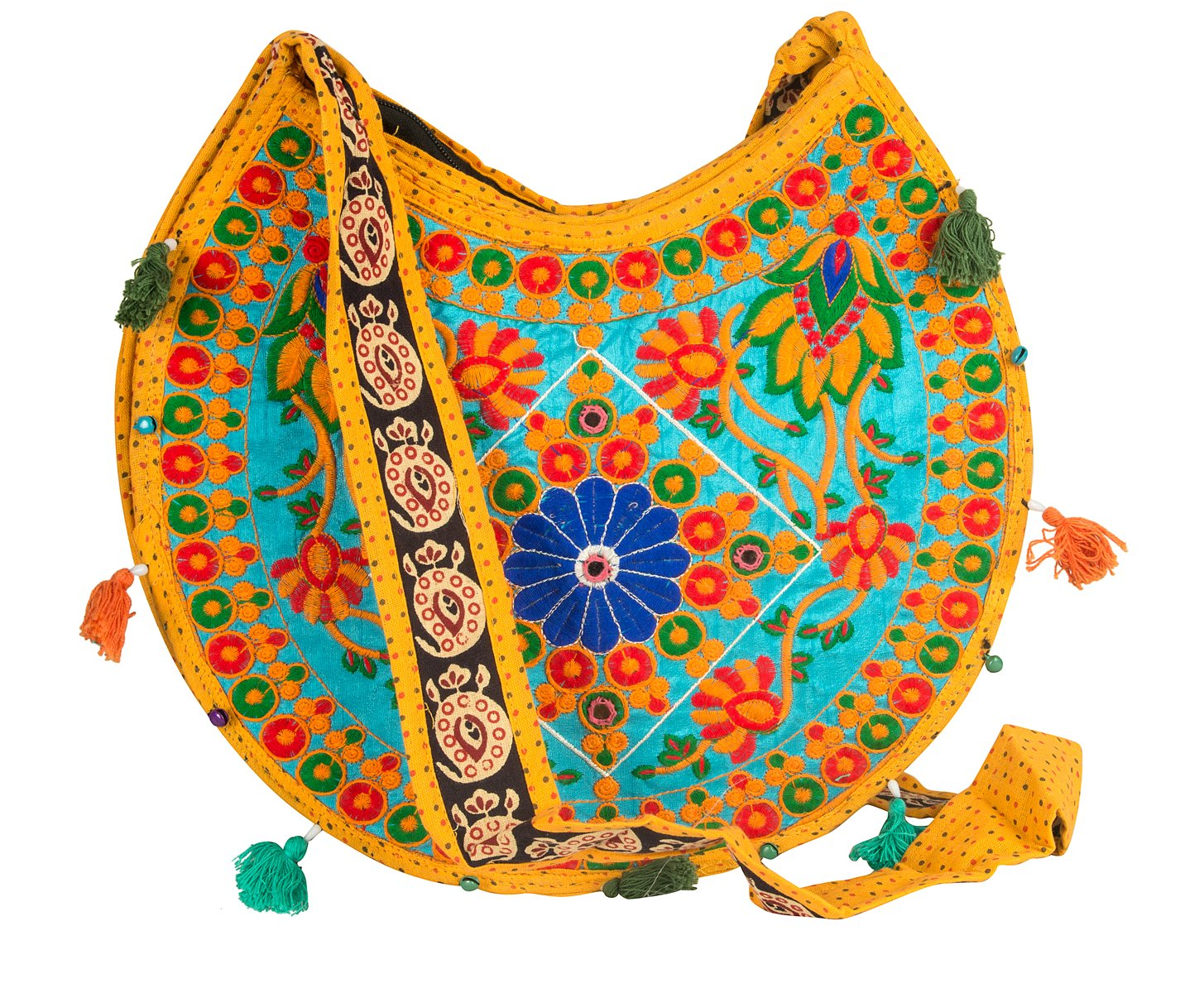 Floral Colorful Shoulder Bag Crossbody Hobo Satchel Hippie Boho Fashion Women Functional Stylish Everyday (Yellow Floral)