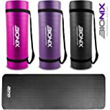 Bionix Large Padded Exercise Yoga Mat with Carry Handles - 15mm High Density 1350g Thick NBR Mats For Gymnastics Pilates Exercise Fitness Black/Purple